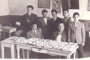 The founder Michalis Vouros with  confectioners apprentices